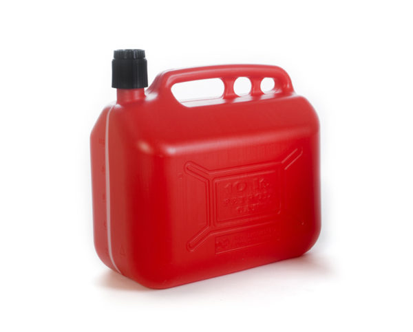 10 L plastic petrol can with integrated cap